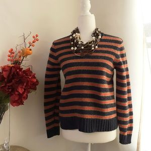 J.CREW Women's Sweater Striped V-Neck Size S